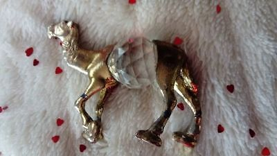 Lead Crystal Bellied Camel Gold Tone Metal Ornament Collectable