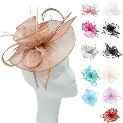 Women Fascinator Alice Headband Clip Feathers Hat Wedding Race Royal Ascot