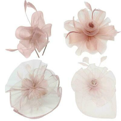 New Women Dusty Pink Large Fascinator Headband Wedding Day Races Royal Ascot