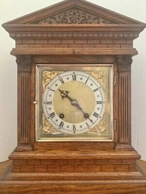 ANTIQUE TING TANG CHIMING BRACKET CLOCK by W&H architectural case COILED GONGS