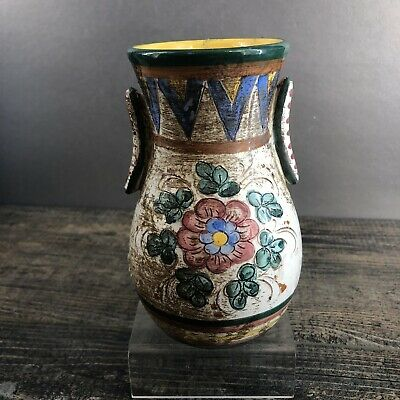 "Beautiful Multi Colored 6"" Terrecotte Firenze Italy Pottery Vase MCM Vintage"