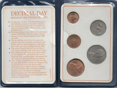 Britain's first decimal coins Set of 5 coins for Decimal Day 15-Feb-1971