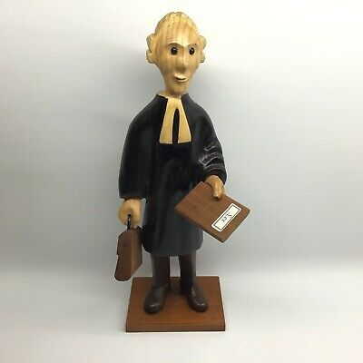 Vintage Romer Hand Carved Barrister Solicitor Lawyer Figurine Wood Italy