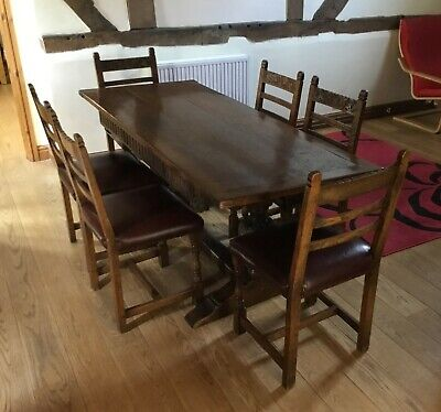Solid Oak Hardwood Dining Table And Refurbished 6 Chairs Set Length 6ft H 31in