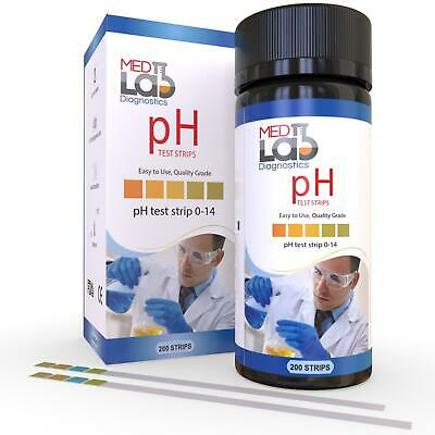 pH Test Strips 0 to 14 (200 ct) for Urine, Saliva,Water, Kombucha, & Liquids