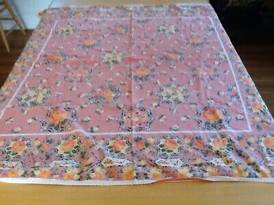 VNTG April Cornell Colorful Floral & Butterfly Print Cotton Tablecloth, 45 X 51""