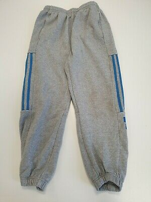 N412 Boys Adidas Grey Blue Cuffed Joggers Tracksuit Bottoms Age 11-12 Years