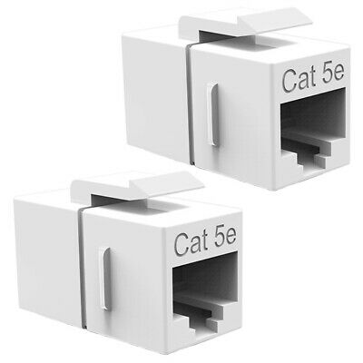 6x Cat5e Snap-In Jack Coupler Ethernet LAN Network for Keystone Wall Plate White