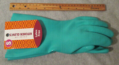 HEAVY DUTY Cleaning GREEN Kitchen Bathroom GLOVES  SMALL S - COTTON Lining