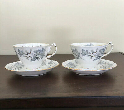 Royal Albert Silver Maple Footed Cup & Saucer, Set Of 2
