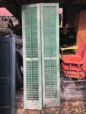 Vtg Pair 1800's Old  Wooden Window Shutters Architectural Salvage 67.5in x 12in