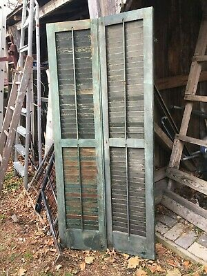 Vtg Pair 1800's Old  Wooden Window Shutters Architectural Salvage 63.5in x 14in