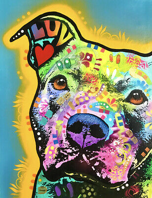 Dean Russo Art Print colorful dog direct from artist SIGNED animal pittie art