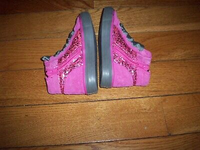 Toddler Girls Clarks Pink & Gray Leather  Glitter Boot Shoes Size 9M