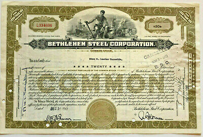 Bethlehem Steel Corporation > 1947 manufacturing company stock certificate