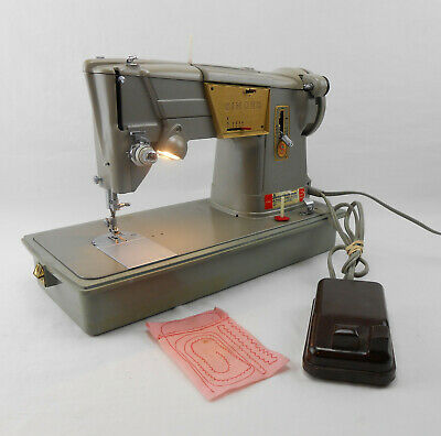 Vintage Singer 328K Sewing Machine Style-O-Matic W/ Case & Foot Pedal -15