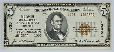 $5.00 Farmers National Bank of Amsterdam NY (1335) Series 1929 Choice About Unc