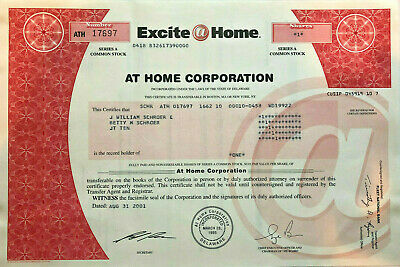 Excite At Home Corporation > early internet service provider stock certificate