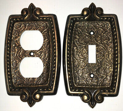 Vintage CSA Flour De Lis Switch Plate And Outlet Cover Rubbed Brass Finish
