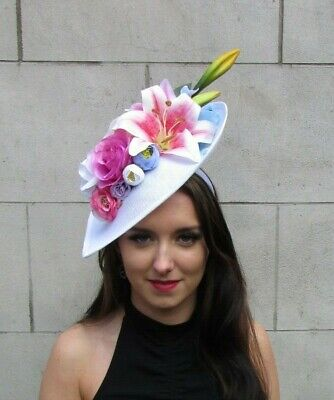 White Light Blue Hot Pink Large Teardrop Flower Hat Fascinator Hair Big 9058