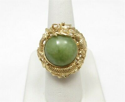 Chinese 14K Yellow Gold ~15mm Round Jade Dragon Bezel Set Ring Size 7