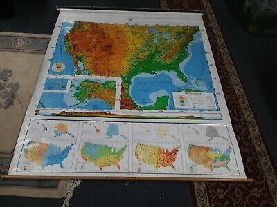 """Nystrom 1PR1A United States Pull Down Map school USA 65""""/65"""""""