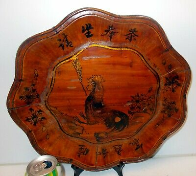VTG CHINESE China WOOD TRAY Painted Charger ART Plate w ROOSTER  Folk Art