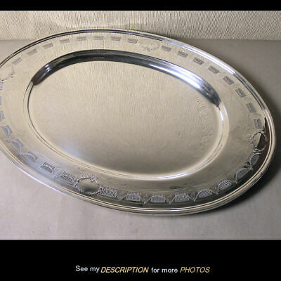 Frank Whiting Sterling Silver Classical Wreaths Swags Oval 20in TRAY 9390