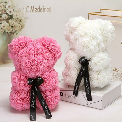 Valentines Day Gift 25cm Red Rose Teddy Bear Rose Flower Artificial Decoration