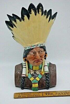 C1905 Antique Bisque Bust Of Native American Head Dress Jewellery Made Germany.