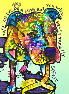Dean Russo Art Print colorful dog direct from artist SIGNED proceeds to rescue