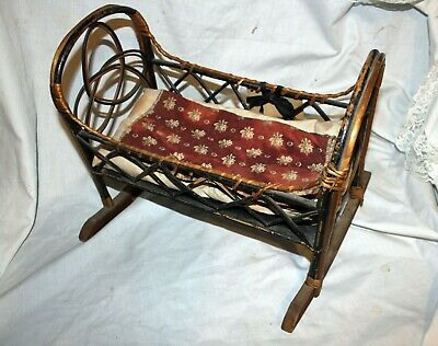Antique Doll Bed 19th Century Wicker