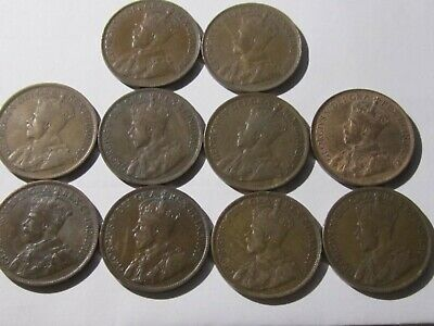 1916-1920 Canada LARGE CENTS Coins – 10 Coin Lot Collection  FINE - VF Cond