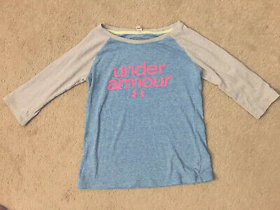 Under Armour Girl's 3/4 Sleeve Gray Blue Pink Athletic Shirt Top Youth Small