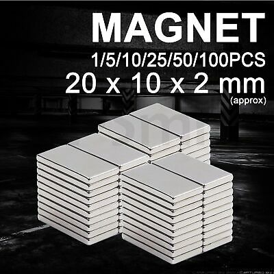 Super Strong Magnets Block Rare Earth Cuboid Neodymium Magnet 20 x 10 x 2mm