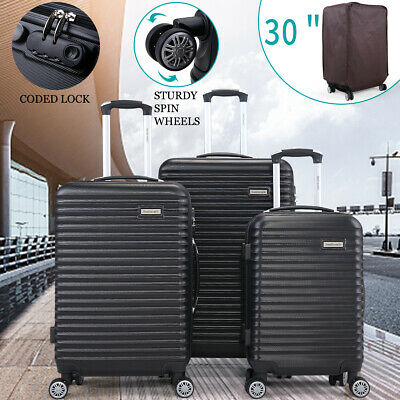22'' 27'' 30'' 3PCS Set Travel Luggage Bag Spinner Carry On ABS Suitcase Black