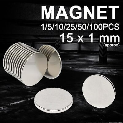 Rare Earth Magnets Disc Neodymium Super Strong Round Fridge 15 x 1mm