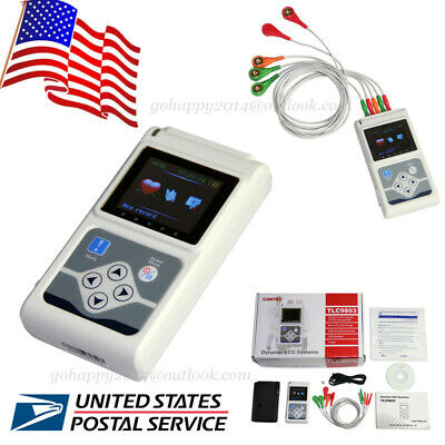 TLC5007 portable 3-lead Dynamic ECG Systems 24-hour recorder ECG waveform USA