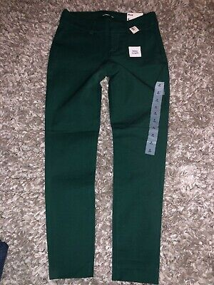 NWT OLD NAVY Womens Green Pixie Stretch Ankle Length Pants Sz 0 St Patrick's Day