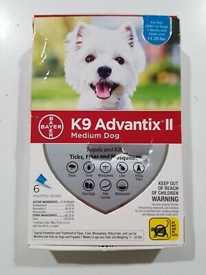 Bayer K9 Advantix II for Medium Dogs 11-20 lbs 6 Pack Sealed NEW