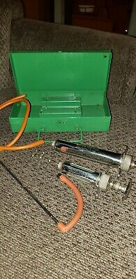 Vintage Glass Metal Syringe W/Hypodermic 4 Needles Medical Veterinary With Case