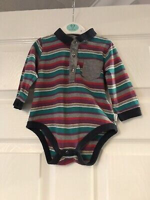 Ted Baker Baby Longsleeved Striped Polo Vest Age 6-9 Months
