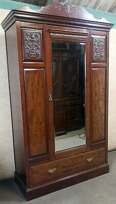 Edwardian Mahogany Mirror Door Wardrobe / Carved Decoration