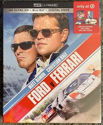 New Ford V Ferrari 4K Ultra Hd Blu Ray 2 Disc Target Exclusive Digipack + Book