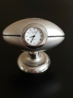 Silver Metal Rugby Ball , Quartz Novelty Collectors Clock, Wm Widdop