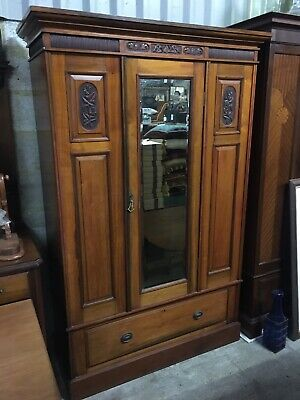 Edwardian carved Wardrobe With Mirrored Door