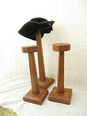 Three Wooden Antique Period Millinery Hat Stands