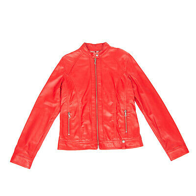 RRP €175 EMANUELE CURCI Leather Racer Jacket Size 10Y Red Full Zip Made in Italy