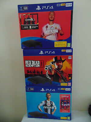 PS4 Slim EMPTY BOXES  with inserts. RDR2 x 2, Fifa 20