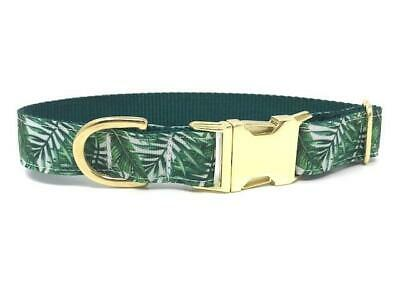Tropical Dog Collar, Hawaiian, Palm Leaves, Tree, Girls, Boy, Gold, Personalized